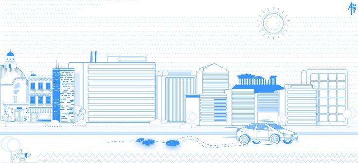 up on the rooftops.Athens, Greece    #AlexTzallas#design#Greece#illustration#art#fineart#design#flat#urban#art#graphic#blue#car#hybrid#buildings#city#cityscape