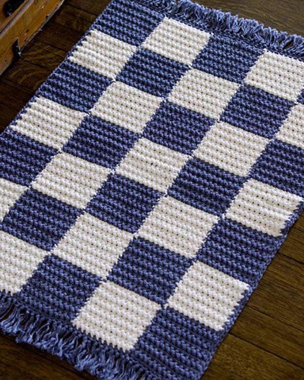 Best Free Crochet » Free Crochet Checkerboard Rug Pattern from RedHeart.com