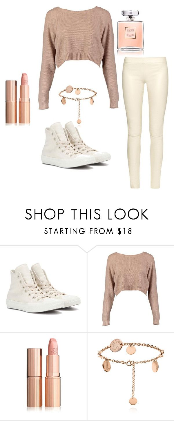 """Casual beige/nude"" by capeloise ❤ liked on Polyvore featuring Converse, Boohoo and The Row"