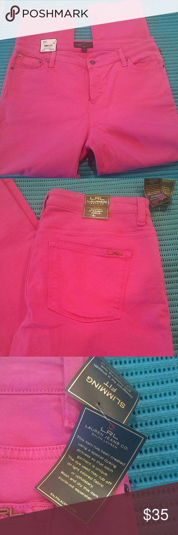 Ralph Lauren hot pink jeans Hot pink, slimming fit, modern straight ankle jeans. Size 14p (petite) Ralph Lauren Jeans Straight Leg