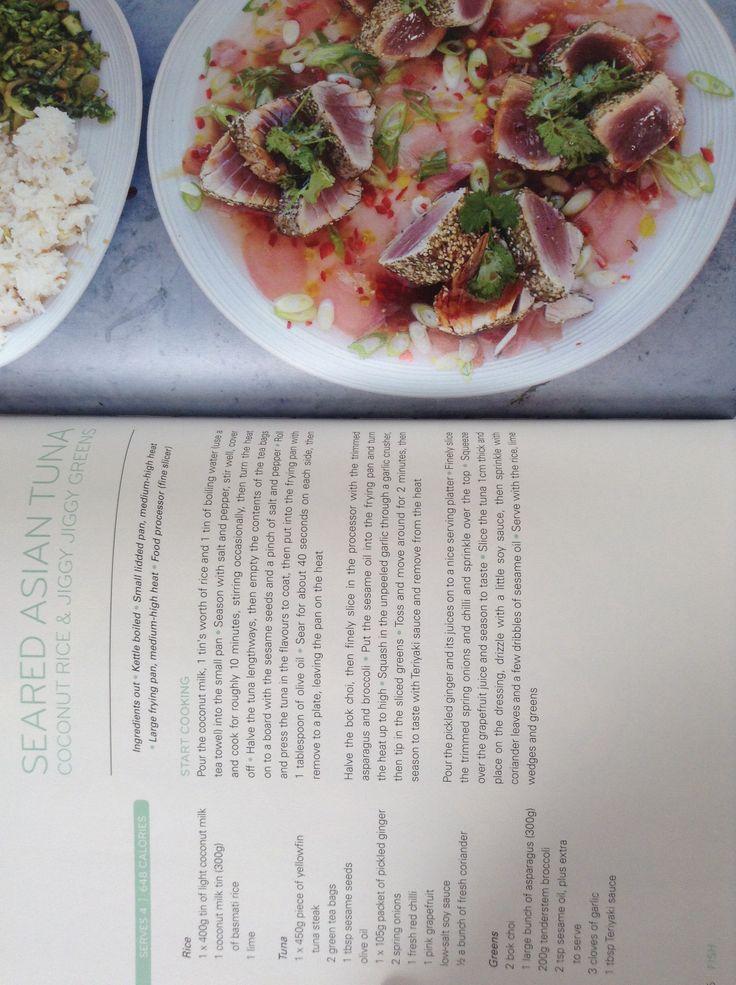 "Jamie Oliver's seared Asian tuna with coconut rice and ""jiggy jiggy"" greens"