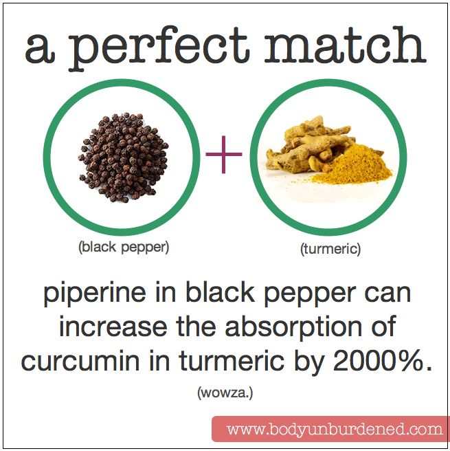 piperine in black pepper can increase the absorption of curcumin in turmeric by 2000%. Health, diet, nutrition.