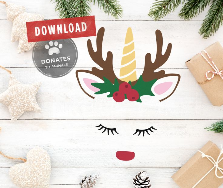 Unicorn Rudolph Reindeer Face? Yes please! Download for $2.75  AND it donates to Animal Shelters.  5 File Types: SVG, DXF, EPS, PNG, JPG + Get up to 30% OFF if you buy multiple files!