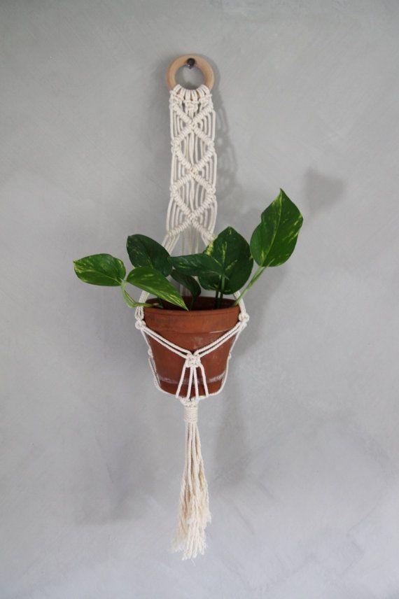 """Macramé Plant Hanger """"Havilah"""" - ByHelgaM on Etsy / Macrame / Makramé / Makrame / Macramee / Planthanger / Planter / Handmade Deco / Boho Deco / Golden Pothos / Chalk Paint / Kalklitir / Scandinavian Bohemian"""