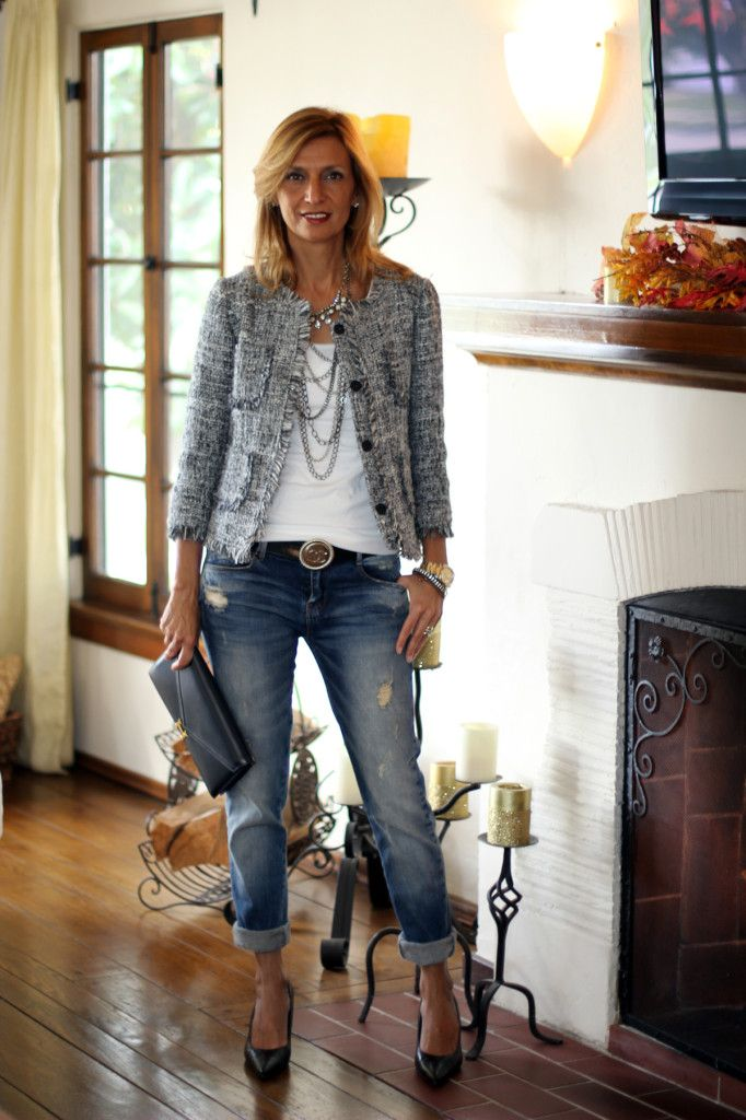 Boucle Jacket. Doesn't this woman look great?