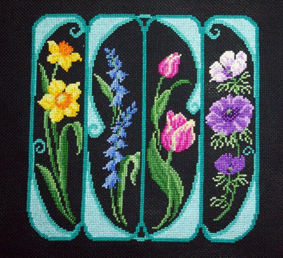 Art Nouveau Spring Flowers Unframed Cross by BlueTopazStitchery