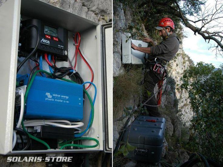 Installation d'un kit solaire : régulateur Steca, onduleur Victron en site isolé. Escalade / Rappel / Falaise