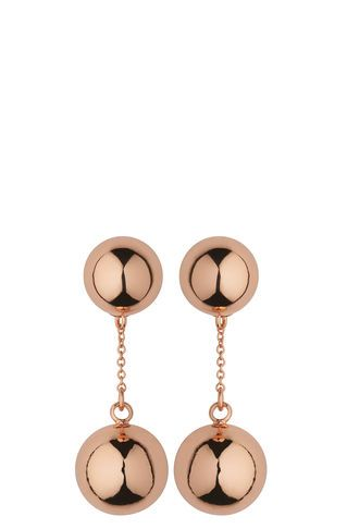 Double Sphere Drop Earring, in Rose Gold on Whistles