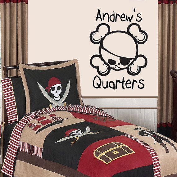 "Pirate Quarters Custom Name Wall Decal Sticker Vinyl Art 15.5""h X 22""w"