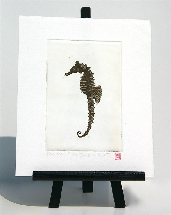 Seahorse  Original Etching by freshandsilly on Etsy, $25.00