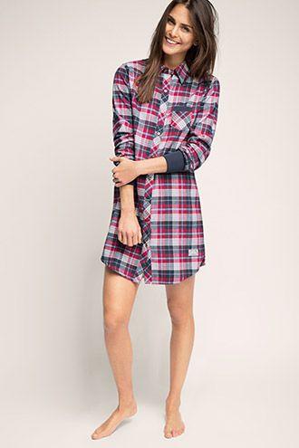 Esprit / Flanelová noční košile ze 100% bavlny