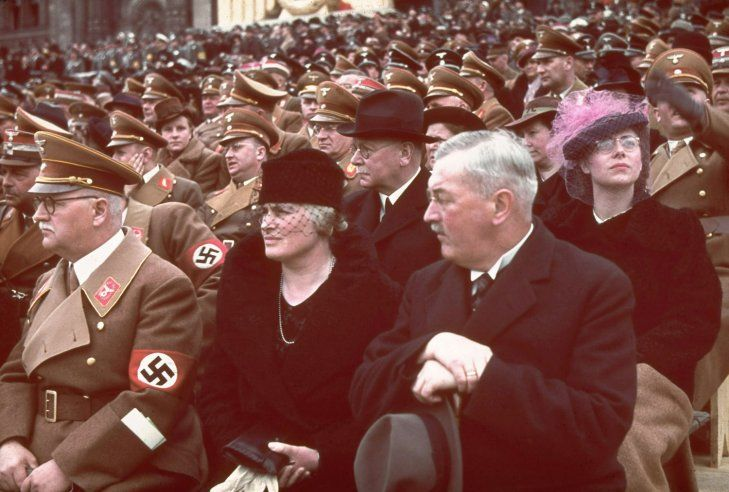 Guests of honor at a rally and military parade in celebration of Adolf Hitler's 50th birthday, Berlin, April 20, 1939. Image Courtesy: Hugo Jaeger - Time & Life Pictures/Getty Images | #Photography #History |