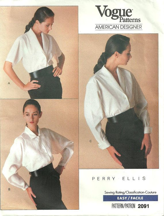 Vintage Designer Sewing Pattern / Vogue 2091 By Perry Ellis / Blouse ...