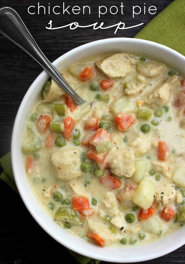 Chicken pot pie is ultimate comfort food and this creamy, chunky soup is loaded with chicken, potatoes, mushrooms, peas, carrots, corn, celery, onions and green beans in every bite.    INGREDIENTS:       1/4 cup flour (to make gluten-free