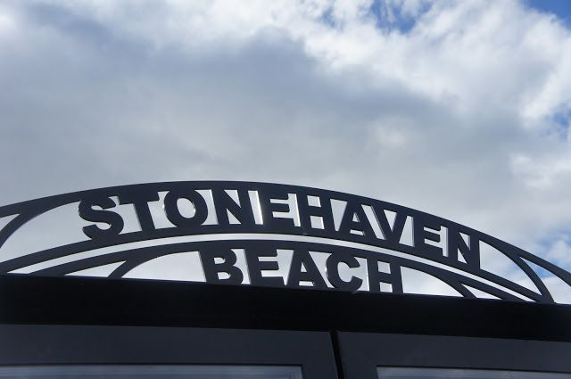 Stonehaven Beach Sign, Aberdeenshire, Scotland.
