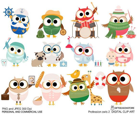 Profession owl part 2 clip art for Personal and Commercial ...
