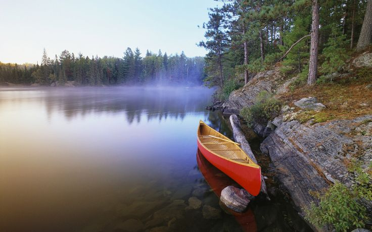 Canoe on Pinetree Lake, Algonquin Provincial Park Algonquin, Ontario
