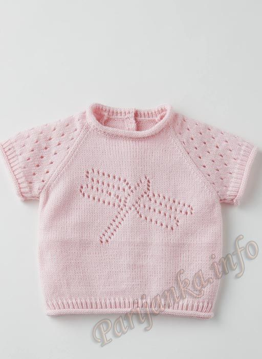 Baby lace knit top with dragonfly motif.   #Babyknitting #babyknits