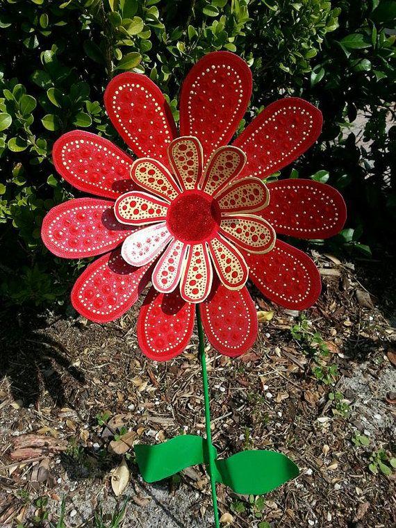 Superior Red Daisy Metal Flower Garden Stake, Garden Art, Yard Art, Gift For Mom