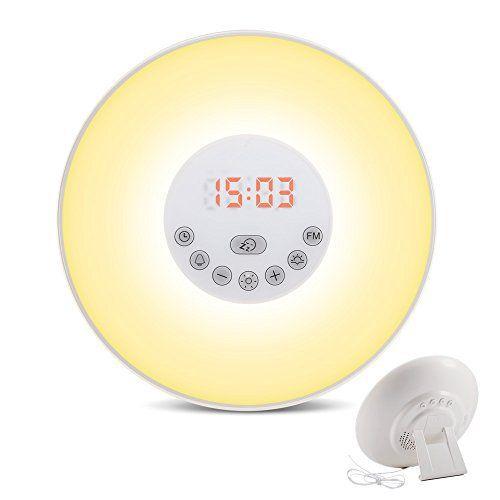 Réveil Lumineux, Lampe de Chevet Simulation d'Aube / de Crépuscule (10 Intensités) 6 Alarmes et Fonction Radio FM 8 Changement de Couleur…