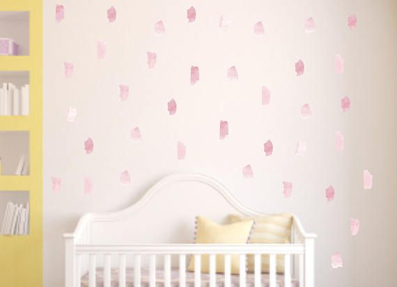 Pink Watercolor Brush Strokes Wall Decals Reusable Removable Fabric Decals Watercolor Splash Paint Strokes Pink Nursery  sc 1 st  Pinterest & 32 best Reusable Wall Decals - Move them around and play with them ...