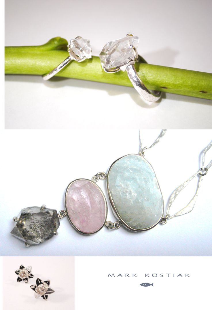 Mark has a love of natural gemstones as formed by mother Nature and incorporates them into beautiful jewellery pieces. The one here is Aquamarine and pink Emerald with Herkimer diamond. Visit stand : 203 for more amazing designs.