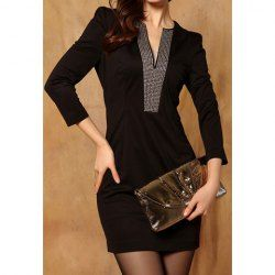 $12.96 V-Neck #Sexy Style Polyester Rhinestone Puff Sleeves #Dress For #Women