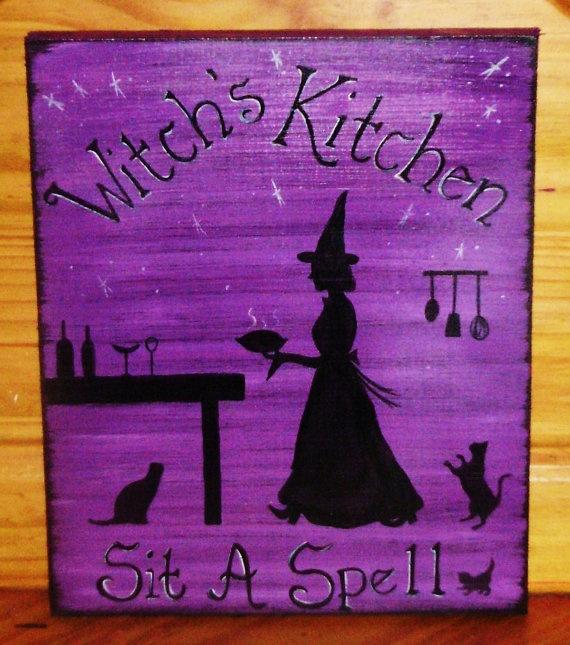"""""""Witch's Kitchen""""Halloween Decor, Witcheskitchen, Wiccan Decor, Witches Kitchens, Kitchens Signs, Custom Signs, Kitchens Witches, Christmas Gift, Halloween Plaque"""