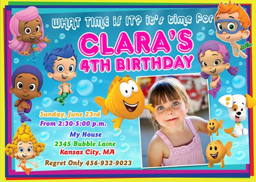 45 best bubble guppies invitations images on pinterest | bubble, Birthday invitations