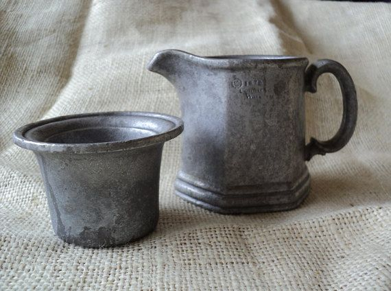 Pewter Pitcher and Cup 1975 Country Ware Hexagon Shape Pewter