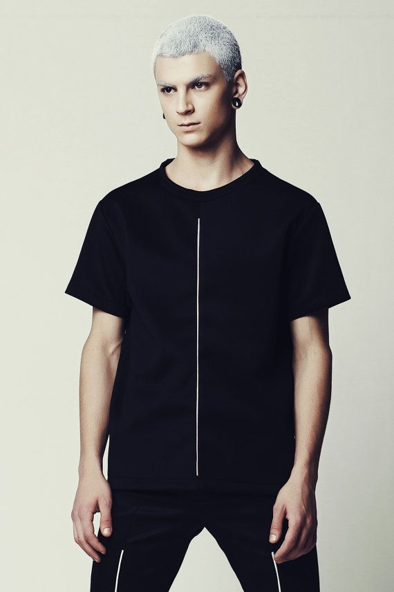 Mens black Tshirt with white stripe Men's black by EliranNargassi