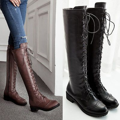 Fashion Women's Knee Thigh High Lace Up Flat Heels Riding Boots Combat Boots