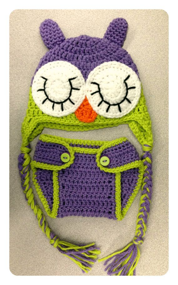 Crocheted Baby Girl Sleeping Owl Hat & Diaper Cover Photo Prop Set - Newborn
