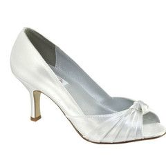 """#weddingshoes #trousseaubridalshoes #bridalshoes Tie the knot in this flirty open toe with pleated upper leading to a fun knot on the top.   Heel height: 7cm / 2.75"""" Material:  Satin.  Check out www.trousseaubridalshoes.co.nz - worldwide shipping is available on our shoes, please contact us"""