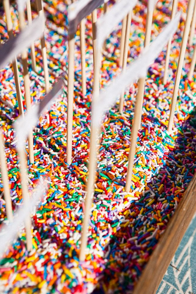 Love this! Escort cards are embedded in a sea of rainbow sprinkles! From @Dessert & Wedding Darling 's wedding on http://StyleMePretty.com/2012/04/17/sonoma-wedding-by-kate-webber-photography-map-wedding-events/   Photography by katewebber.com: Mapevents Com, Event Design, Floral Design, Escort Cards, Wedding Ideas, Place Cards, Candy Photography
