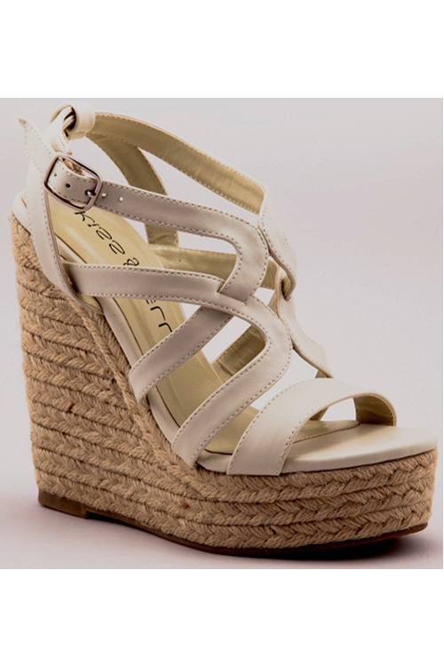 Nude Ava Strappy Wedge Heels