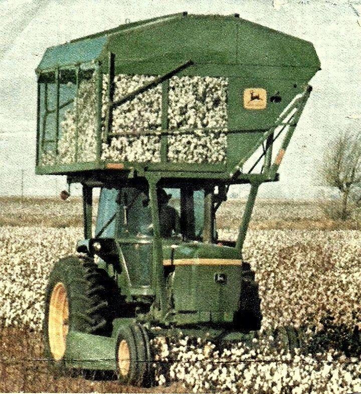"""JOHN DEERE 4430 W/Mounted Cotton Picker. Or is it, """"a Cotton Pickin John Deere """""""