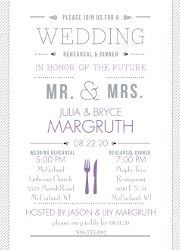 For the ultimate wedding look, send an invitation with a timeless style and design! The classic look of this contemporary invitation is in the bold stripes and clean design. Create it in your wedding colors, with your personalization on the front and back.   Product Details:    Invitation Size: 5' x 7'   Card Type:   Flat non-folding   Prints In: Flat, Digital Ink  Ink Color: Choose from a variety of ink options including David's Bridal exclusive colors  Choice of fonts and verses...