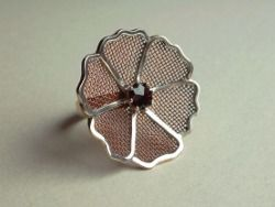 Sterling silver and copper wire mesh with garnet  Design&Handmade by K.Tokar