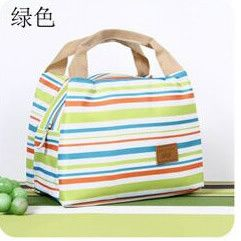 New 2016 Fashion Stripe Cooler Insulated Tote Lunch Bag Women Children Zipper Cold Thermal Food Bag Box Neveras Termicas