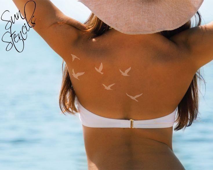 Sun Tan Tattoo Flock of flying birds | Tanning, Temporary White Tattoo Tan | Block Out Sun Stencil Tattoo | Tanning Bed decal | Spray Tan by SunStencils on Etsy https://www.etsy.com/listing/274831862/sun-tan-tattoo-flock-of-flying-birds