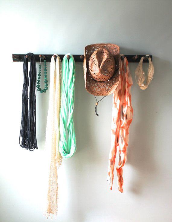 reclaimed wooden rake coat rack by on etsy