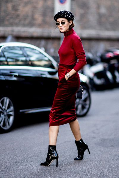 Red Velvet and a Beaded Beret - Milan s Most Inspiring Street Style - Photos c1683559b16