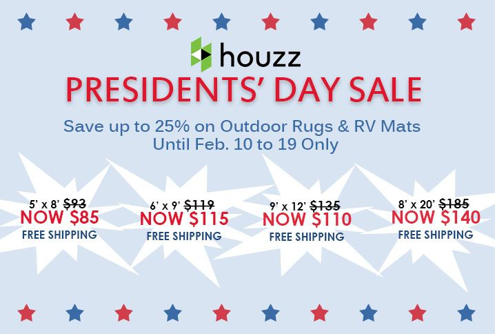 Get monumental savings at Houzz! Save up to 25% on b.b.begonia Outdoor Rugs & RV Mats from Feb. 10 to 19 only.  Head on over to this link http://www.houzz.com/photos/rugs/seller--bbbegonia if you want to take advantage of this great offering from b.b.begonia! #PresidentsDaySale #bbbegonia #houzz