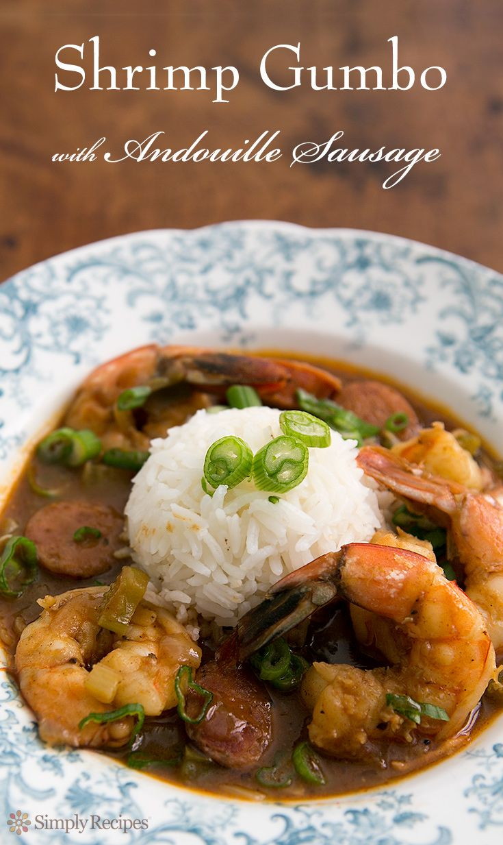 Shrimp Gumbo with Andouille Sausage ~ A Cajun style shrimp gumbo with andouille sausage. Perfect for Mardi Gras! Let the good times ROLL ~ SimplyRecipes.com
