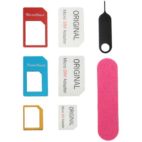 [USD0.56] [EUR0.50] [GBP0.41] Nano SIM to Micro SIM Card Adapter + Nano SIM to Standard SIM Card Adapter + Micro SIM to Standard SIM Card Adapter + Sim Card Tray Holder Eject Pin Key Tool with Double Sided Tape for iPhone 5 & 5S, iPhone 4 & 4S, 3GS / 3G
