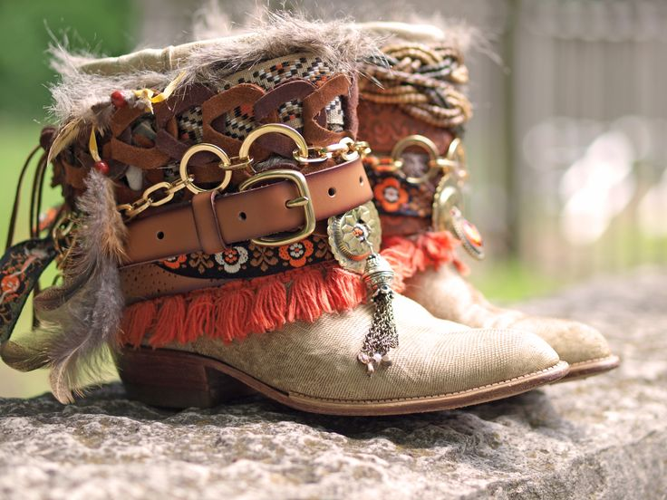 Upcycled boho boots from TheLookFactory on Etsy