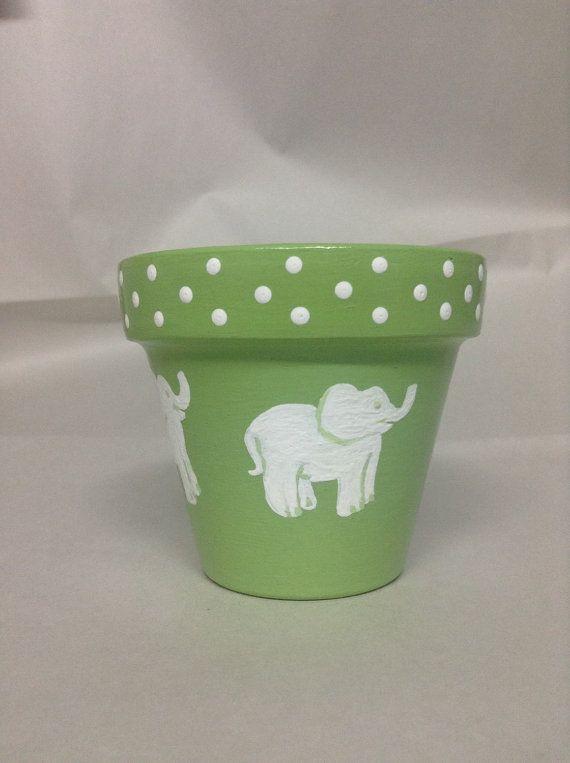 Hand painted baby shower flowerpots. Baby by SheilasGardenGirls