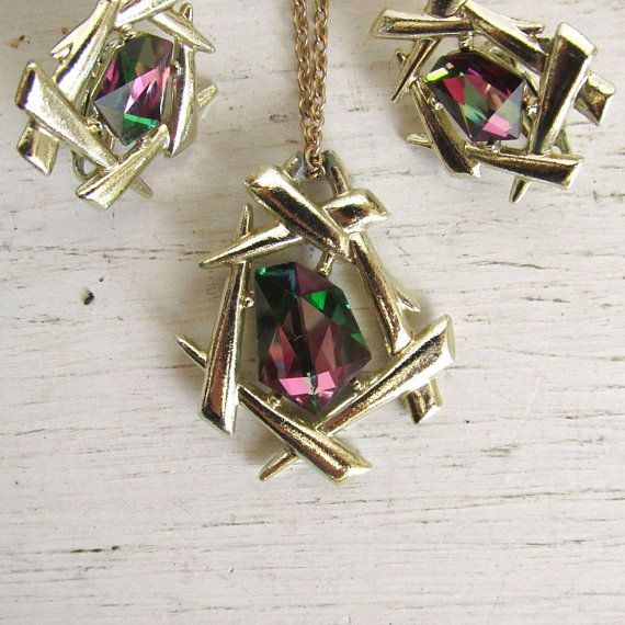 Red Green Sarah Coventry 1970s Gold Tone Vintage Costume Jewelry Watermelon Rhinestone Necklace and Earrings Set