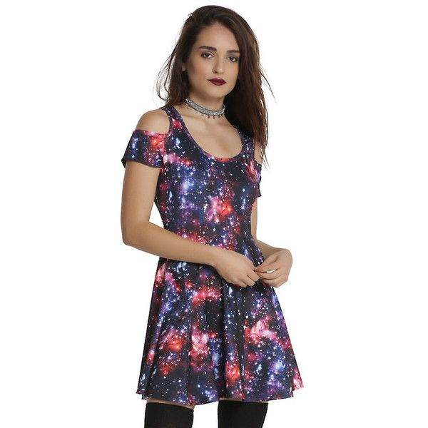 Galaxy Cold Shoulder Dress Hot Topic ($22) ❤ liked on Polyvore featuring dresses, nebula dress, galactic dress, planet dresses, cold shoulder skater dress and skater dresses